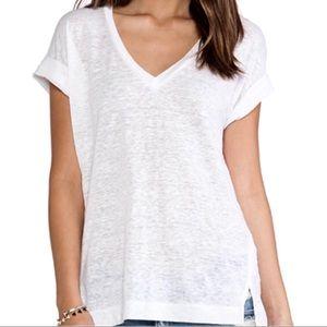 Splendid white linen v neck tee